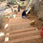 Repairing steps on Silver Cascade Fall Trail above Helen Hunt Falls